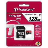 Карта памяти Transcend, 128GB, micro SDHC, class10 U1, SD adapter.