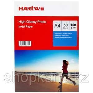 Фотобумага Hartwii, глянцевая, односторонняя, А4, 150 гр., 50 листов.