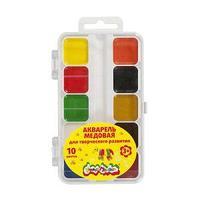 Акварель Каляка-Маляка, 10 цветов, квадратный кювет, пластиковая упаковка