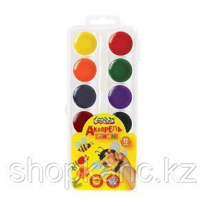Акварель Каляка-Маляка, 12 цветов, круглый кювет, пластиковая упаковка