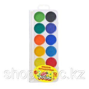 Акварель ПЕРЛАМУТР, 12 цветов, круглый кювет, пластиковая упаковка
