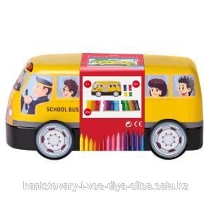 """Набор для рисования Faber-Castell """"Connector School Bus"""" 33 фломастера+10 клипc, металлич. коробка"""