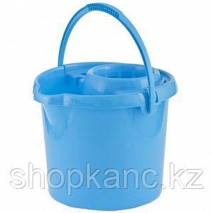 Ведро пластмассовое круглое с отжимом 9л, голубое