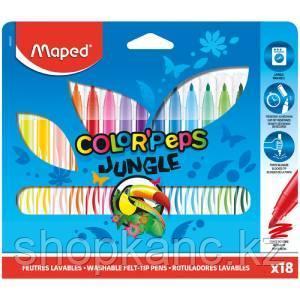 "Фломастеры Maped ""Jungle"", 18цв., смываемые, картон, европодвес"