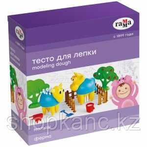 "Тесто для лепки Гамма ""Малыш. Ферма"", 04 цвета, 240г, набор с аксессуарами"
