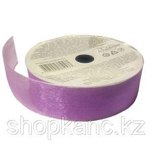 Лента прозрачная органза  для праздничной упаковки подарков на картонной катушке, цвет фиолет, 5 м.