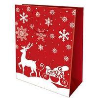 Пакет бумажный подарочный, цвет красный, олени и снежинки, размер 28 х 34 х 9 см