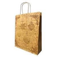 Пакет бумажный подарочный, цвет крафт елоч игрушки, размер 28 х 34 х 9 см