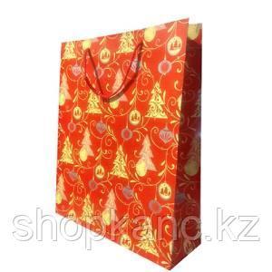 Пакет бумажный подарочный, цвет красный , размер 28 х 34 х 9 см