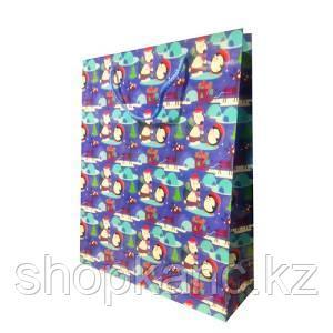 Пакет бумажный подарочный, цвет синий , размер 28 х 34 х 9 см