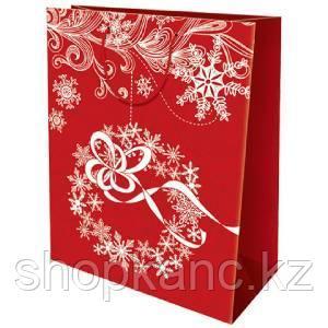 Пакет бумажный подарочный, цвет красный , размер 33 х 43 х 10 см