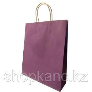 Пакет бумажный подарочный, цвет фиолетовый , размер 28 х 34 х 9 см