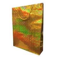 Пакет голографичекий  с 3D эффектом,  цвет золото, размер 33 х 43 х 10 см