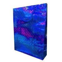 Пакет голографичекий  с 3D эффектом,  цвет синий, размер 33 х 43 х 10 см