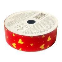 Лента для праздничной упаковки подарков, цвет красный, сердце, размер ленты: 2,5 см х 10 м.