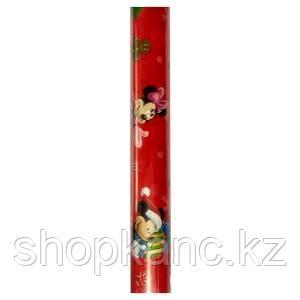 Упаковочная бумага супергладкая легкомелованная, цвет красный Микимаус, размер 70 х 150 см