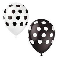 """Воздушные шары, 25шт, М12/30см, Поиск """"Горошек ассорти черно-белое"""", декоратор, шелк"""
