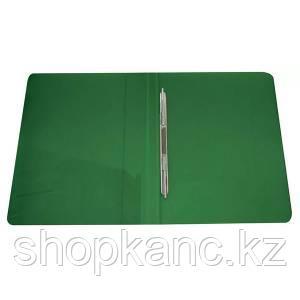 Папка-скоросшиватель с пружинным механизмом, А4 , зелёный.