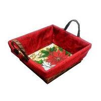 Корзинка плетеная с декоративной новогодней салфеткой