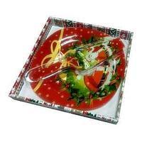 Тарелка для торта с лопаткой 25 см., квадратная стекло
