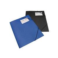Папка с резинкой А4, 0,50мм, с визиткой, черная, пластик