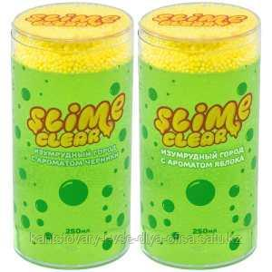 """Слайм Slime """"Clear-slime. Изумрудный город"""", зеленый, с пенопласт. шариками, аромат ассорти, 250г"""