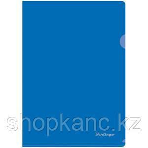 Папка-уголок A4, прозрачная, синяя, 180 мкм.