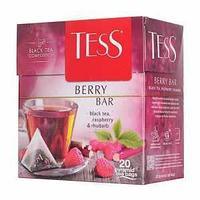 Чай Tess Berry Bar, чёрный (малина, ревень), пакетированный, 20*1,8 г.