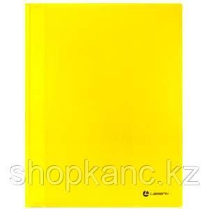 Папка-скоросшиватель, А4, 0,30 мм, непрозр.верхний лист, внутренний карман, желтый