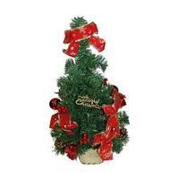 Елка искусственная декорированная, 45 см., украшение красное.