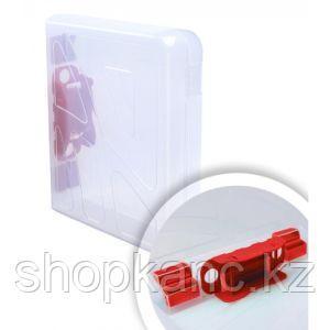 Папка-регистратор прозрачная, замок красный