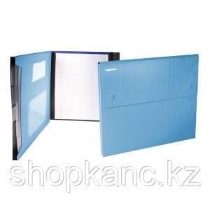 Папка-конверт, на 2-х кнопках, 0.7мм, DISCOVERY, 4 отд, каскад, карман для CD, голубой,арт.255037-08