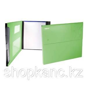 Папка-конверт, на 2-х кнопках, 0.7мм, DISCOVERY, 4 отд, каскадная, карман для CD,зеленая
