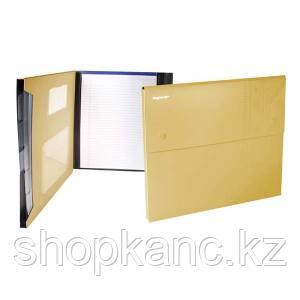 Папка-конверт, на 2-х кнопках, 0.7мм, DISCOVERY, 4 отд, каскад, карман для CD,желтый,арт.255037-26