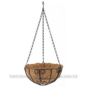 Подвесное кашпо с декором, 25 см, с кокосовой корзиной
