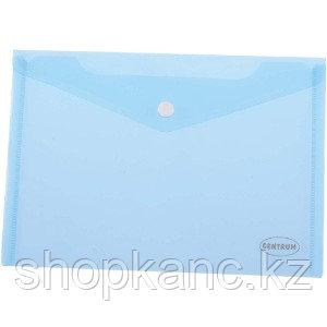Папка-конверт на кнопке, А4, 0,16 мм, прозрачно-голубой