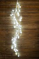 Декорация новогодняя Ветка 1,2м белая Снежные шарики кабель белый 3м, 48 диодов LED indoor