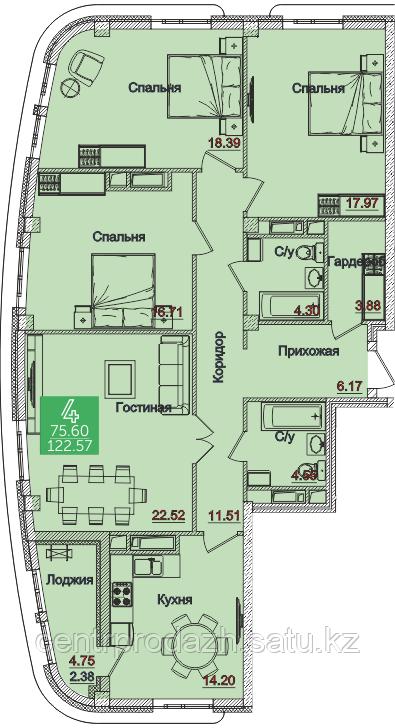 4 комнатная квартира в Олимпийский 122.62 м²