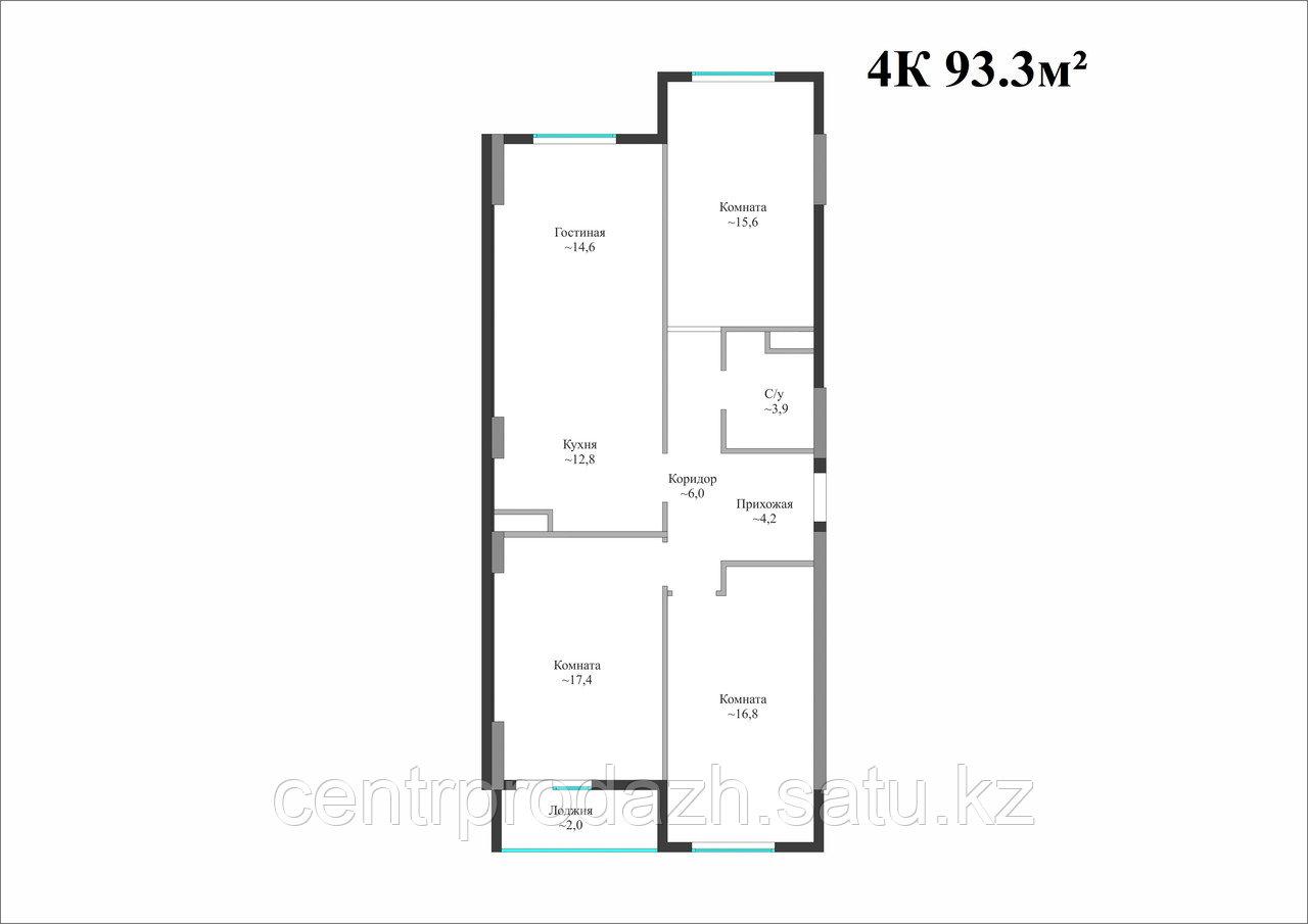 4 комнатная квартира в Айсафи 93.3 м²
