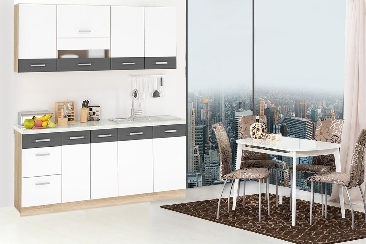 Шкаф-стол 400, 3Я как часть комплекта Глобал, Белый/Серый, MEBEL SERVICE (Украина)