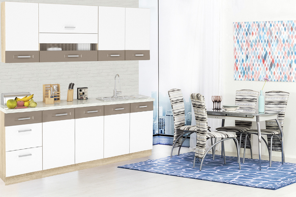 Шкаф кухонный 400,  1Д  как часть комплекта Глобал, Белый/Капучино, MEBEL SERVICE (Украина)