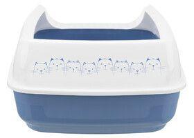 Туалет Trixie Delio с бортиком для кошек, бело-синий - 35×20×48см