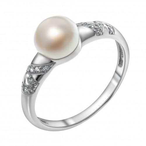 Кольцо из серебра с натуральным жемчугом и фианитом