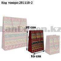Пакет подарочный M(15х20) в новогодней тематике крафт пакет с узорами