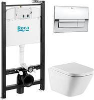 Комплект инсталляции ROCA + подвесной безободковый унитаз GAP + кнопка ROCA 7893104100