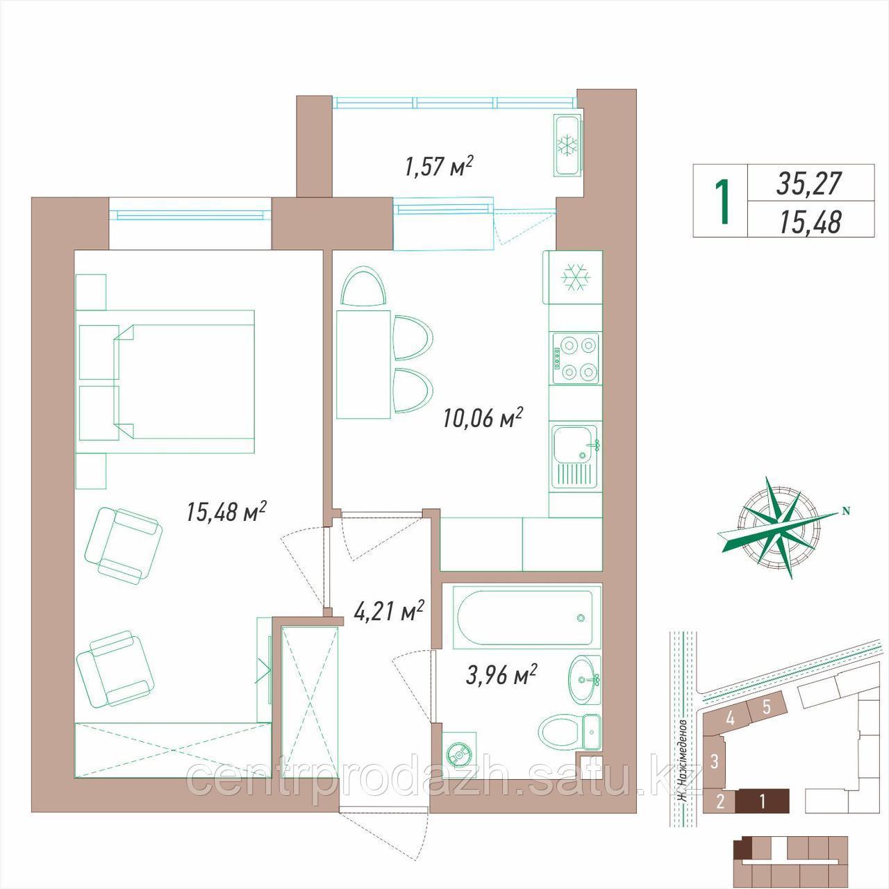1 комнатная квартира в ЖК VIEW PARK 35.27 м²