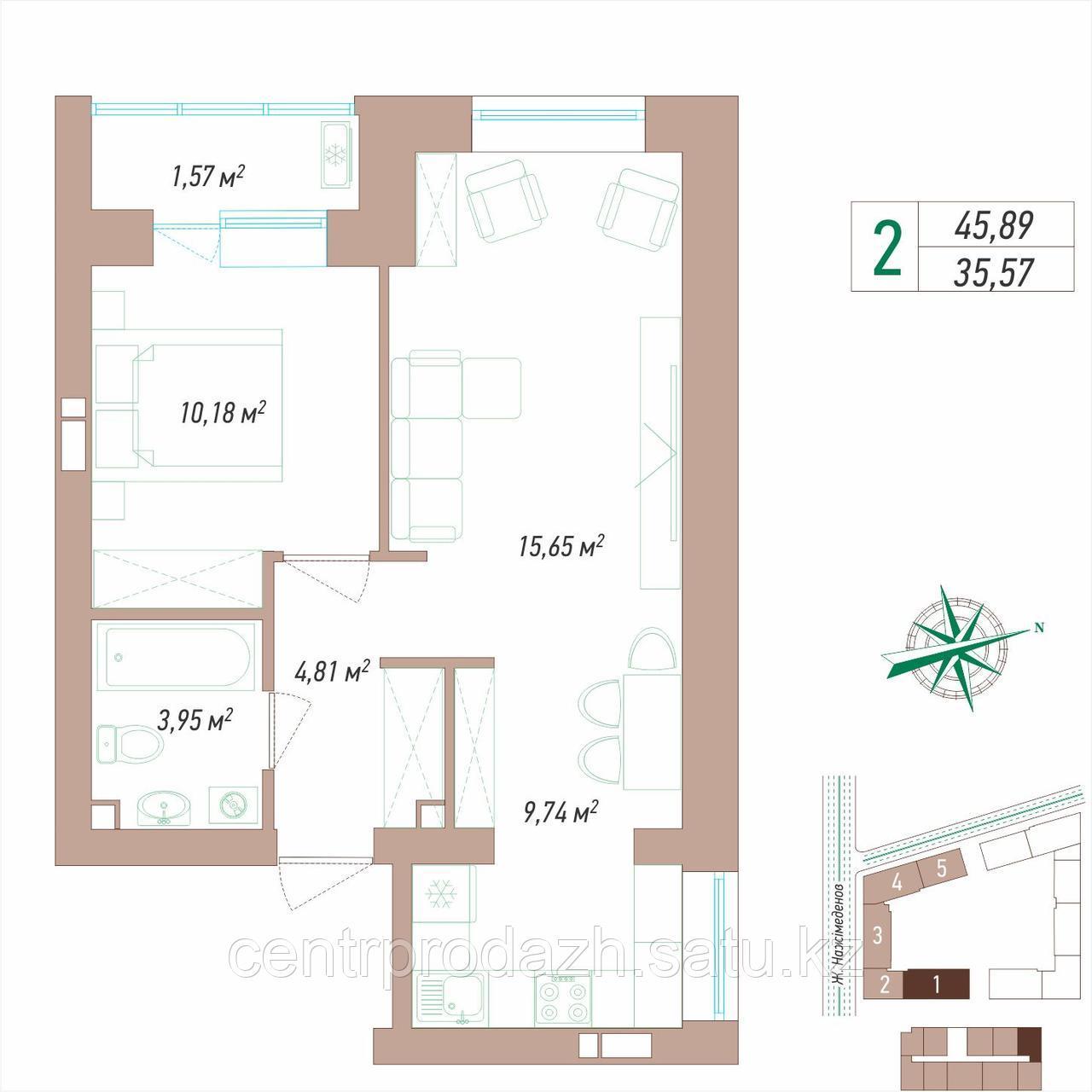 2 комнатная квартира в ЖК VIEW PARK 45.89 м²