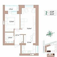 2 комнатная квартира в ЖК VIEW PARK 45.89 м², фото 1