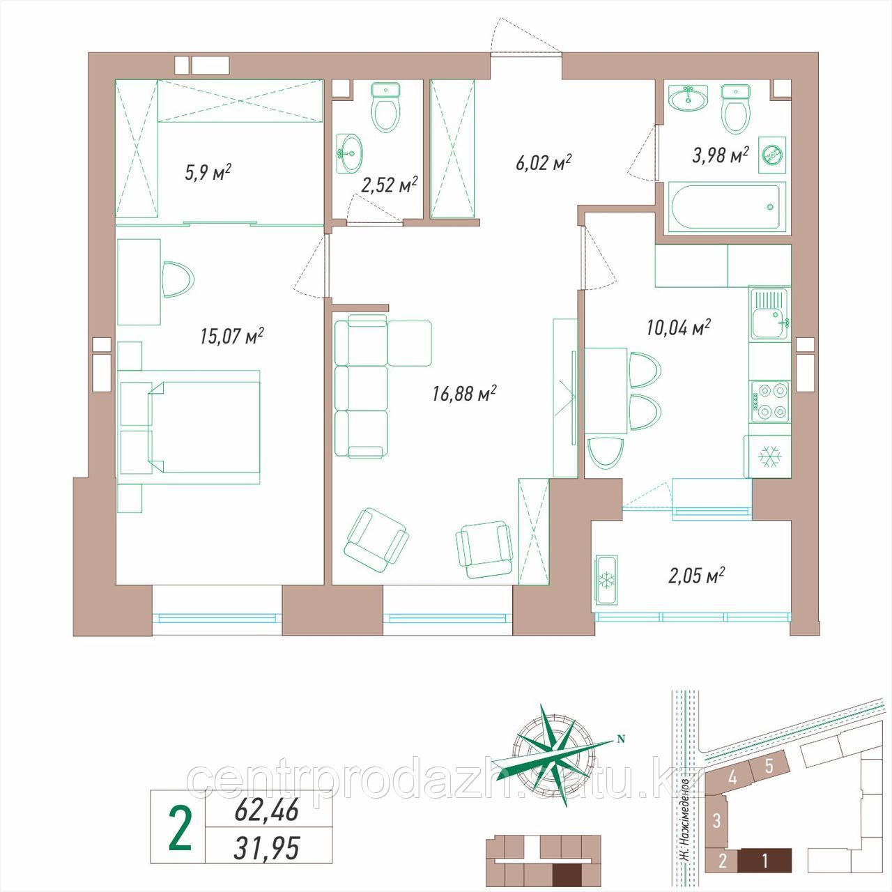 2 комнатная квартира в ЖК VIEW PARK 62.46 м²