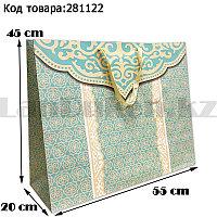 Пакет подарочный большой 55см х 45см х 20см прямоугольной формы бирюзового цвета с национальным орнаментом